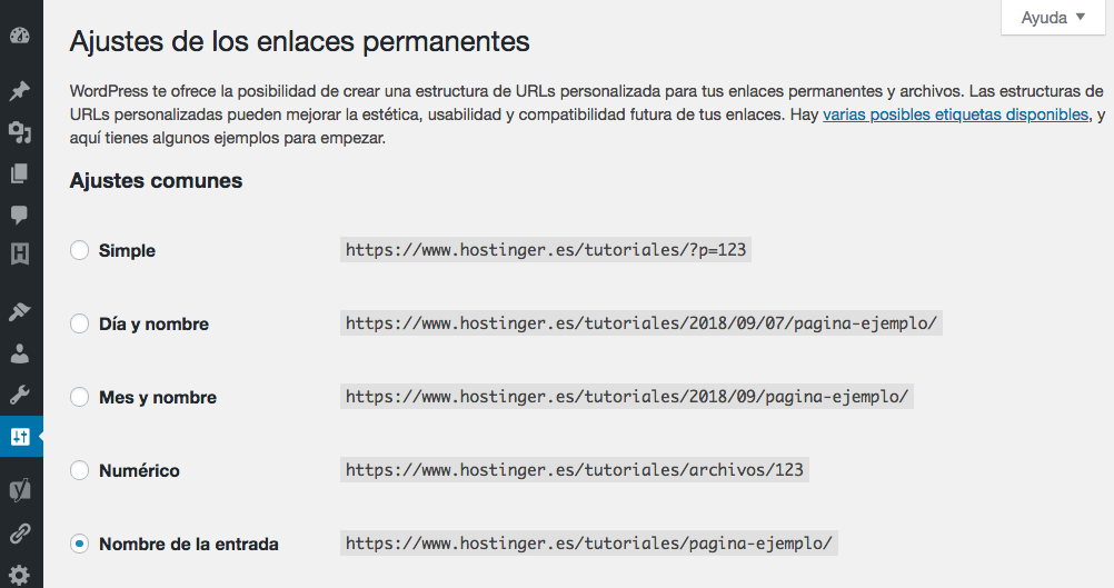 Cambiando tu estructura de enlaces permanentes de WordPress.