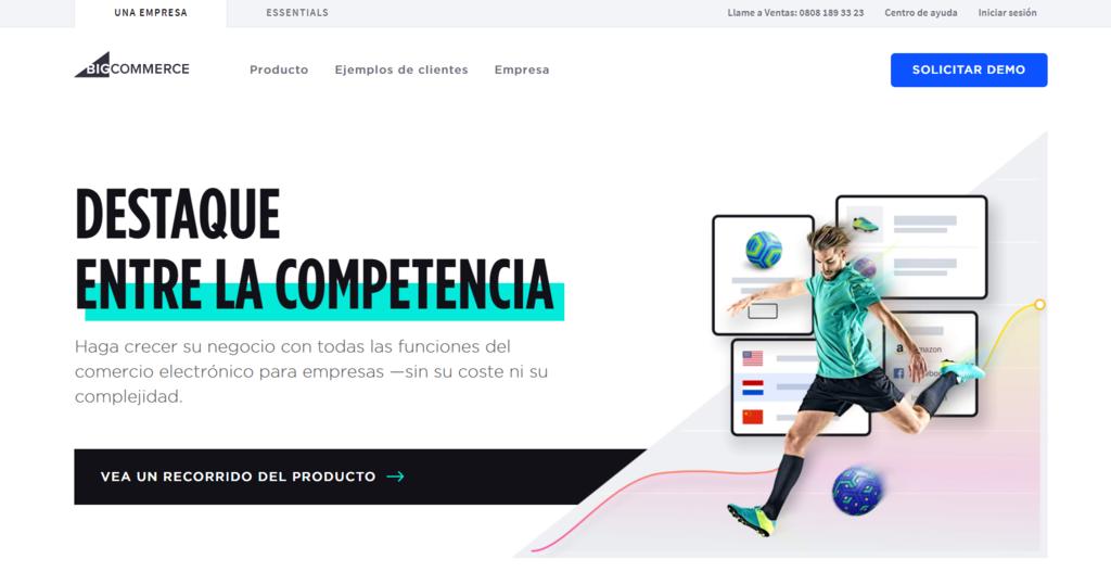 Plataformas de venta online: Página de inicio de BigCommerce
