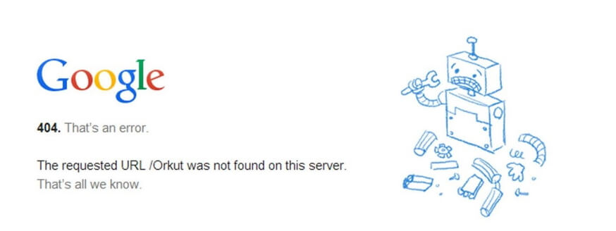 Un error de Google Chrome 404.