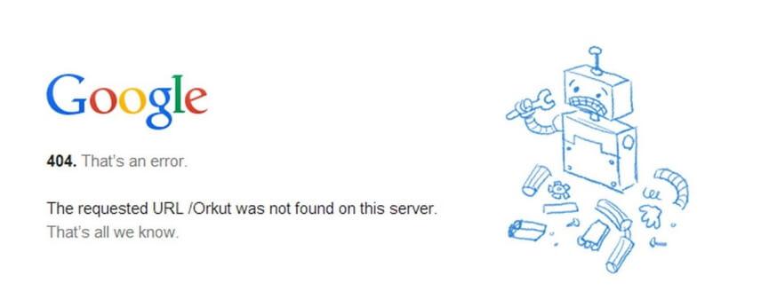 Un error de Google Chrome 404.