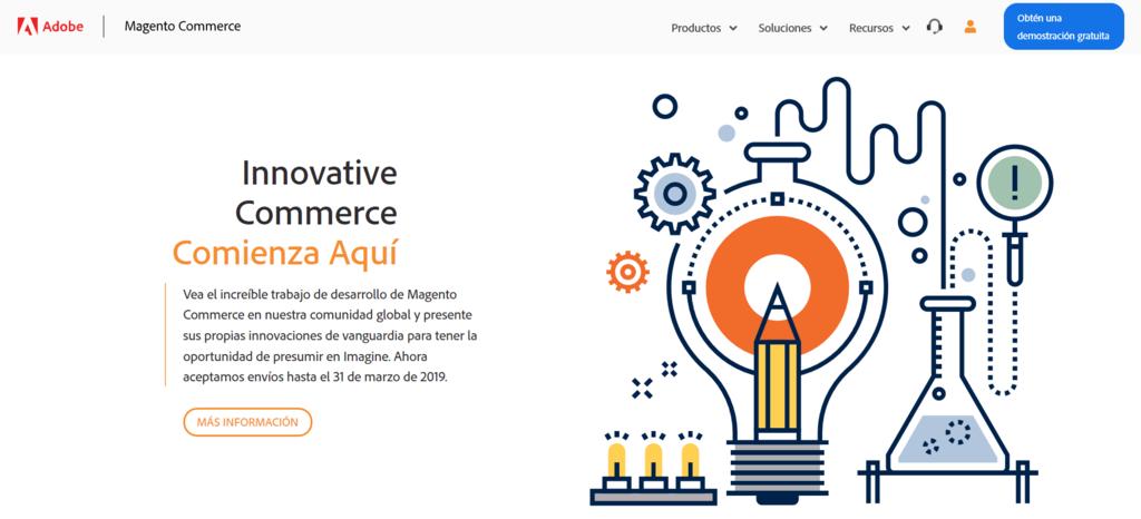 Plataformas de venta online: La página de inicio de Magento.