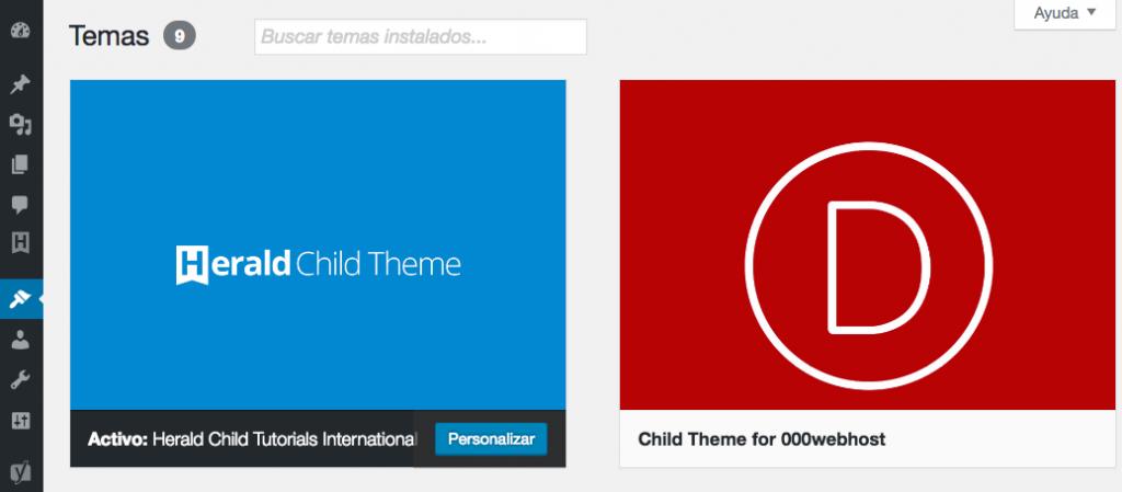 Cambiando tu tema activo de WordPress.