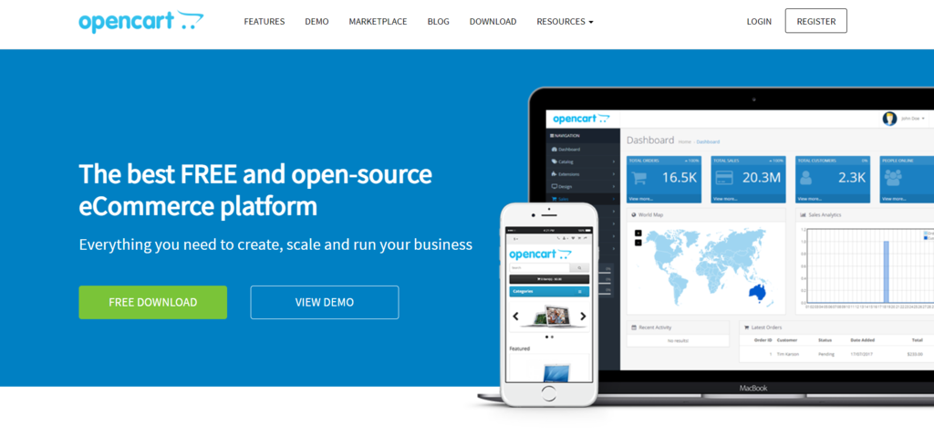 Página de inicio de Opencart