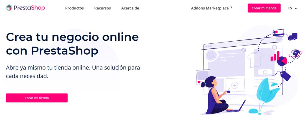 PLataformas de venta online: La página de inicio de PrestaShop.