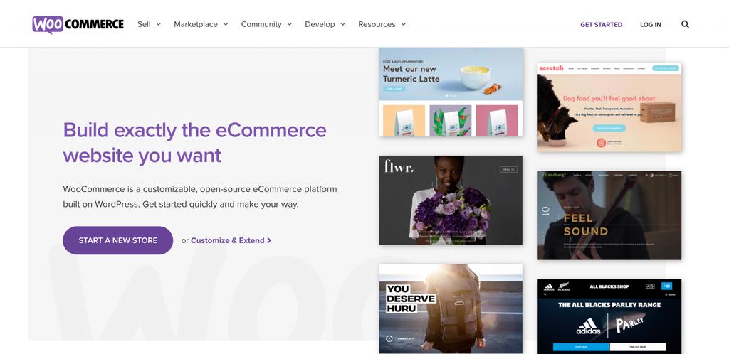Plataformas de venta online: La página de inicio de WooCommerce.