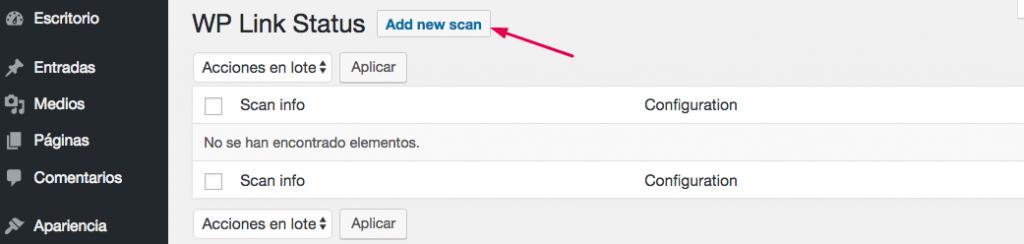 Ejecutando un nuevo escaneo de enlaces rotos.