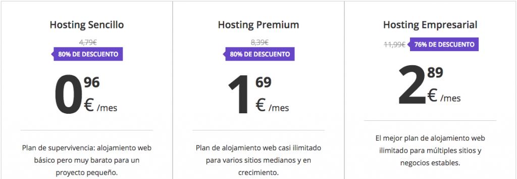 Nuestros planes de hosting compartido.