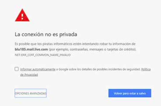 Un error de Chrome SSL.