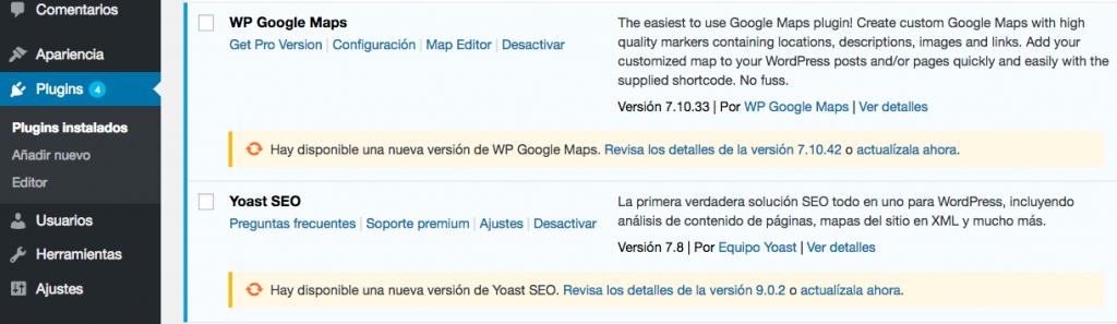 Un ejemplo de dos plugins que requieren actualizaciones.