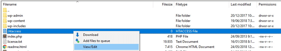 Edición de tu archivo htaccess.