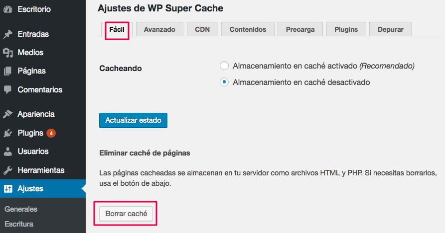 Borra tu caché de WordPress.