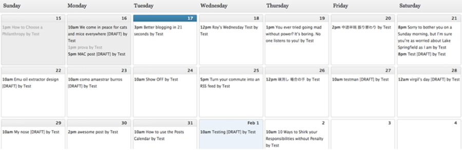 El plugin Editorial calendar.