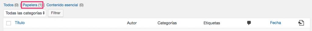 La pestaña de la papelera de tus mensajes de WordPress.
