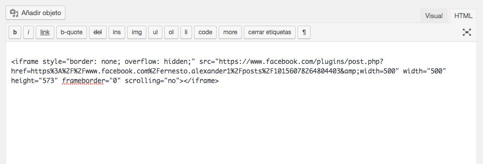 Pegar tu código de inserción de WordPress.