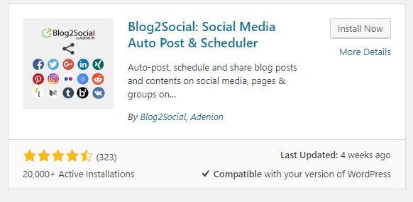 Instalando el plugin de Blog2Social.