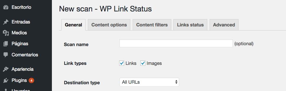 Configurando tu escaneo de enlaces rotos.