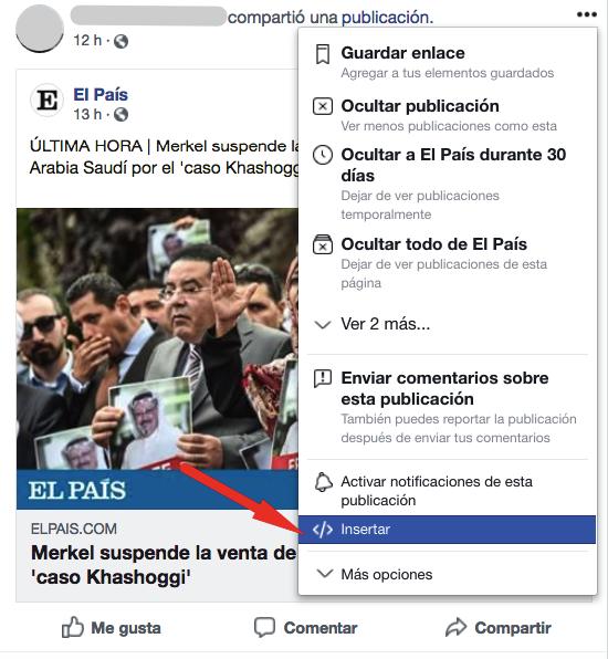El botón de inserción de Facebook.