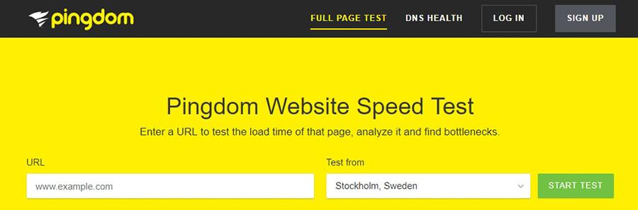 La página de inicio de Pingdom Tools.