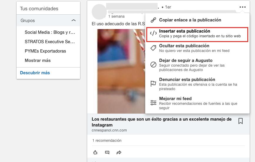 Insertar una publicación de LinkedIn.
