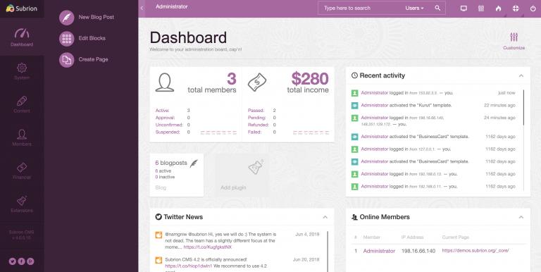 subrion-demo-dashboard
