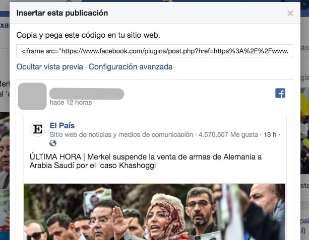 Su código de inserción de Facebook.