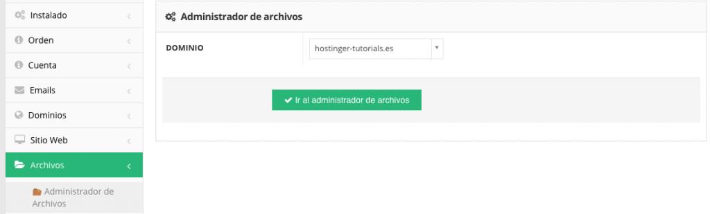 Accediendo a la herramienta Administrador de archivos en Hostinger