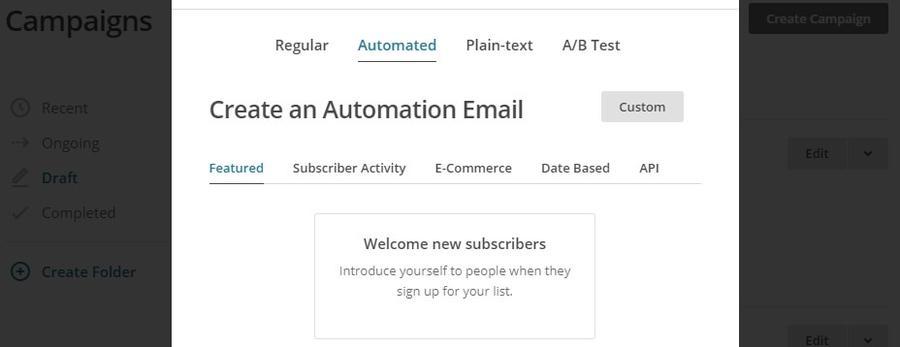 Creación de un correo electrónico de bienvenida.