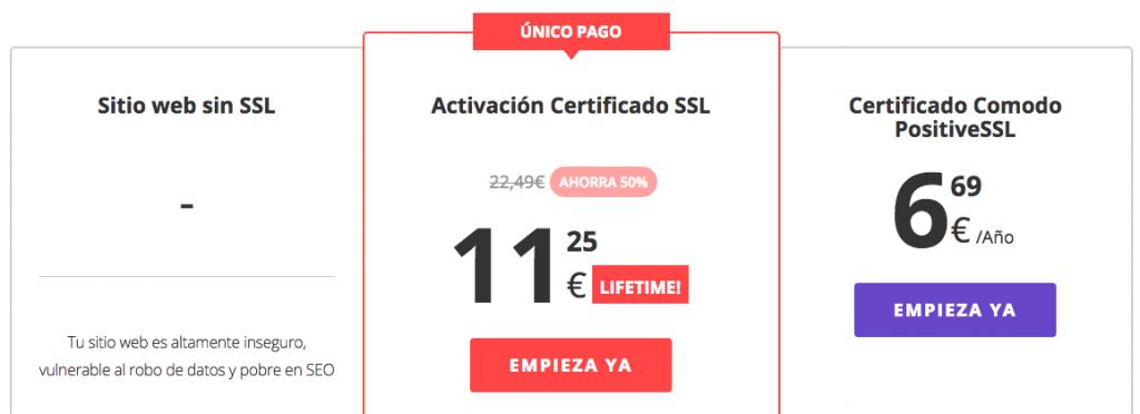 Nuestros precios certificados SSL Hostinger.