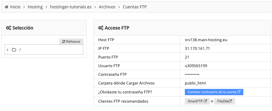 Localización de detalles de conexión FTP