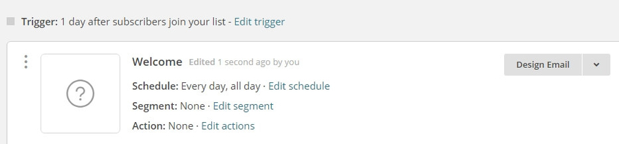 Pulsando el botón de correo electrónico de diseño.