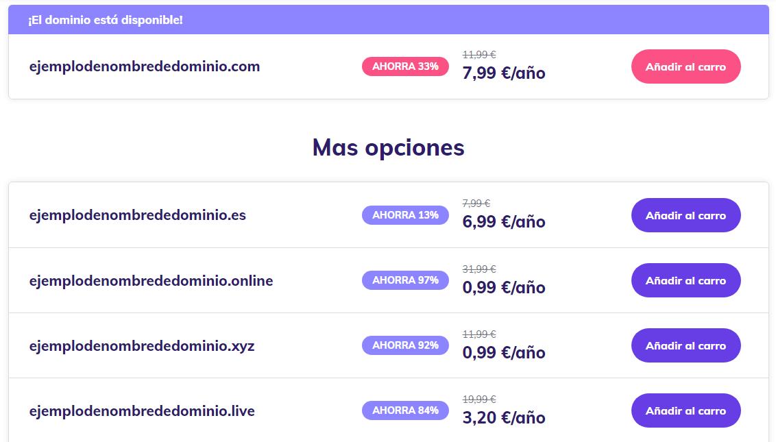 Precios de nombres de dominio con diferentes TLD