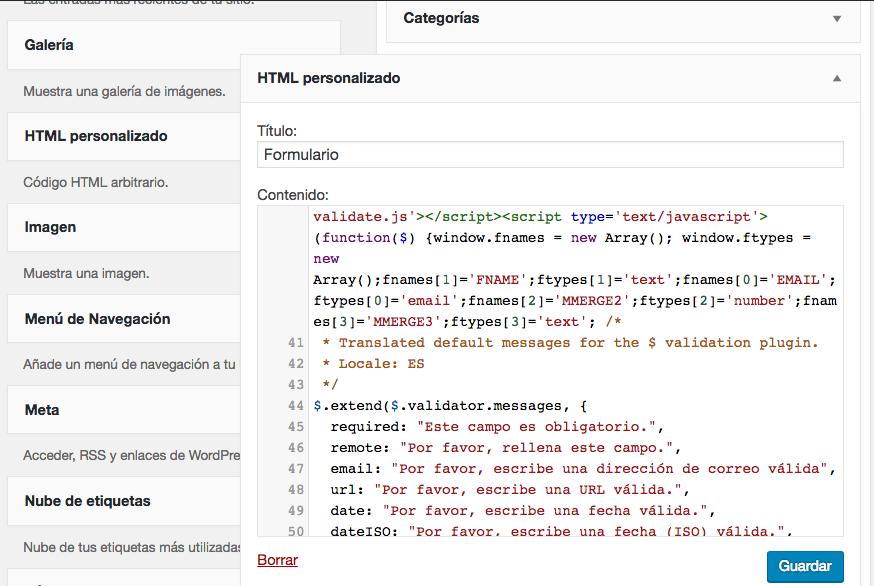 El widget HTML personalizado en acción.