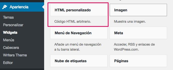 Widget HTML personalizado.