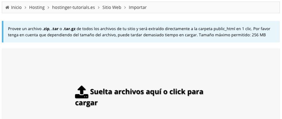 Usando la herramienta de importación de sitios web