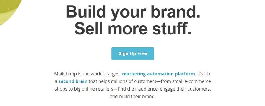 La página de inicio de MailChimp.