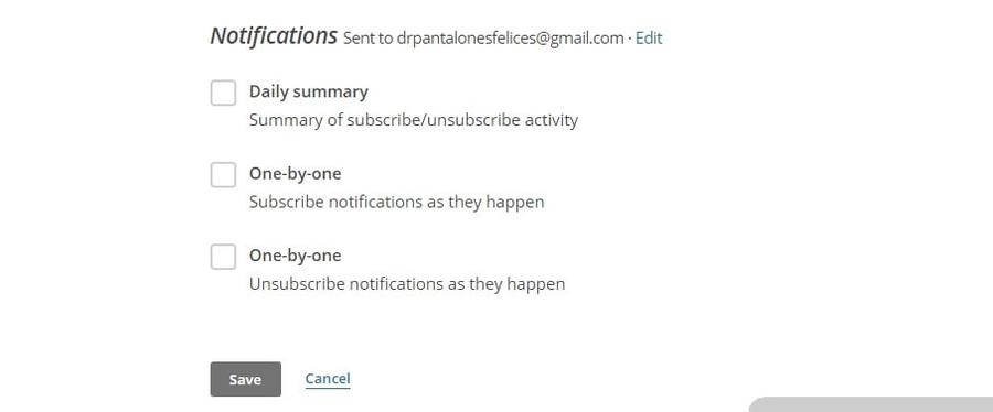 Habilitar las notificaciones de suscripción