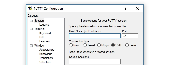 Panel de configuración de putty
