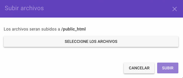 Seleccionando el archivo del sitio web
