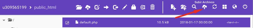 Botón para subir archivos en el Administrador de archivos