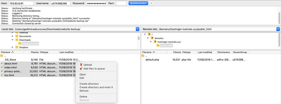 Cargar archivos del sitio web a través de FTP utilizando un cliente FileZilla