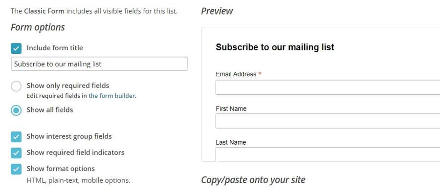 Vista previa de su formulario de registro.