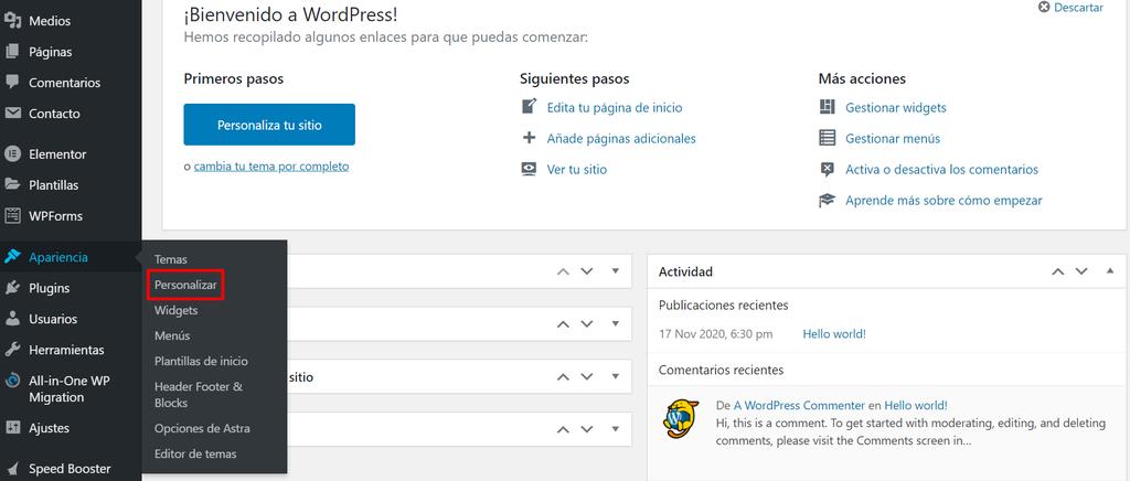 Sección Personalizar en Apariencia de WordPress