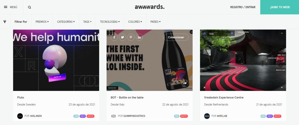 Ideas de diseños web en Awwwards