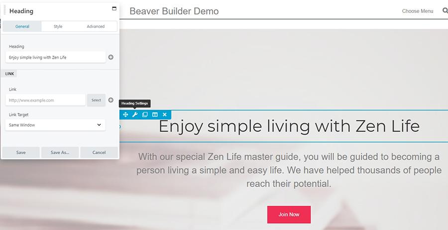 El plugin Beaver Builder en acción.