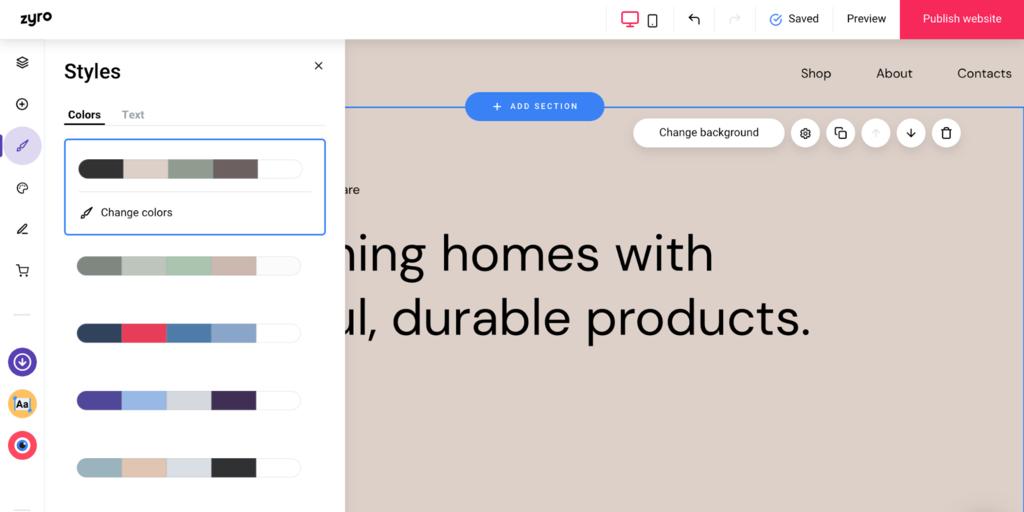 Editar sitio web con el constructor de sitios Zyro