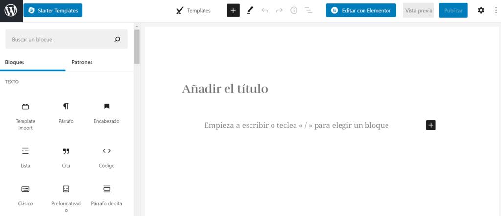 Captura de pantalla que muestra el editor Gutenberg