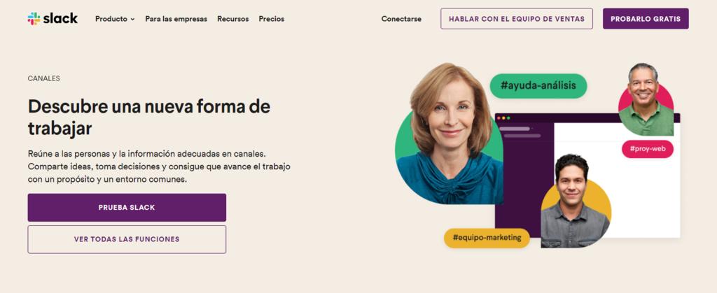 Página web de Slack