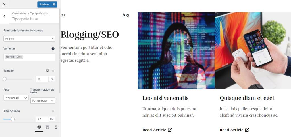 Editar fuente con el tema Astra en WordPress