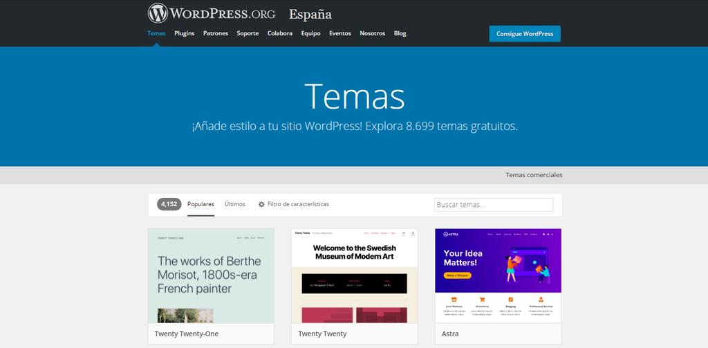 Temas de WordPress en el directorio oficial