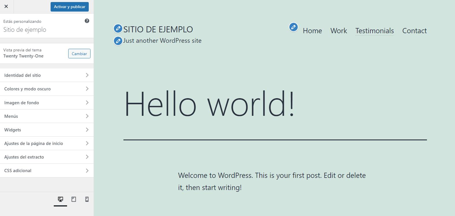 Tema por defecto de WordPress: Twenty Twenty One